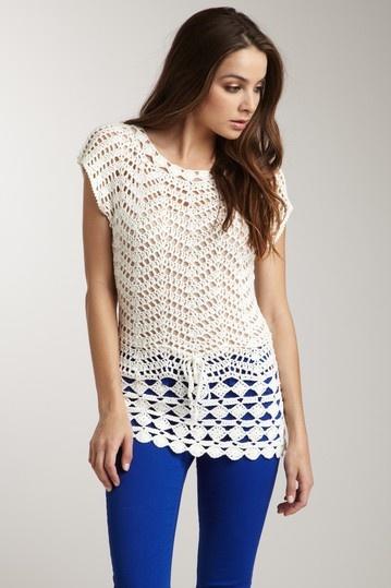 Scoop Neck Crochet Top