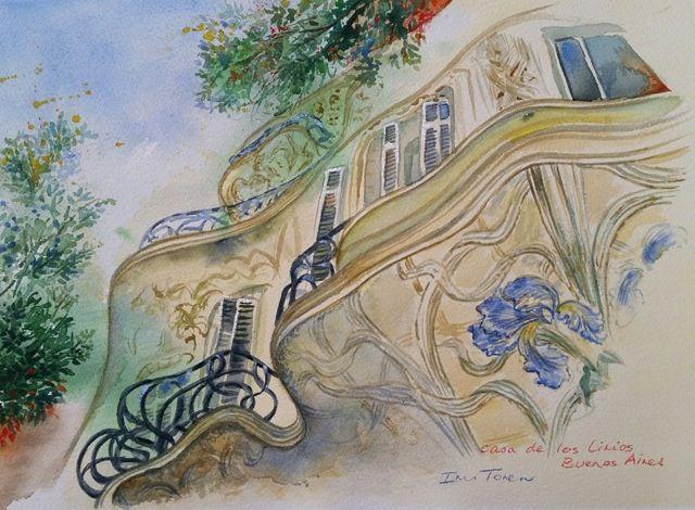 Casa de los Lirios Artist Iris Toren  Size: 39 x 28.5 cm (unframed) Medium: Watercolour