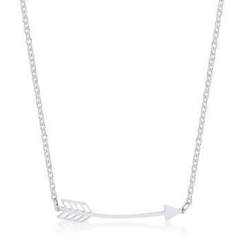 Arianna Rhodium Stainless Steel Arrow Necklace
