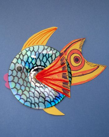 CD Fish--good use of cds that are scratched beyond use. These would be cute hanging in the sunlight too.