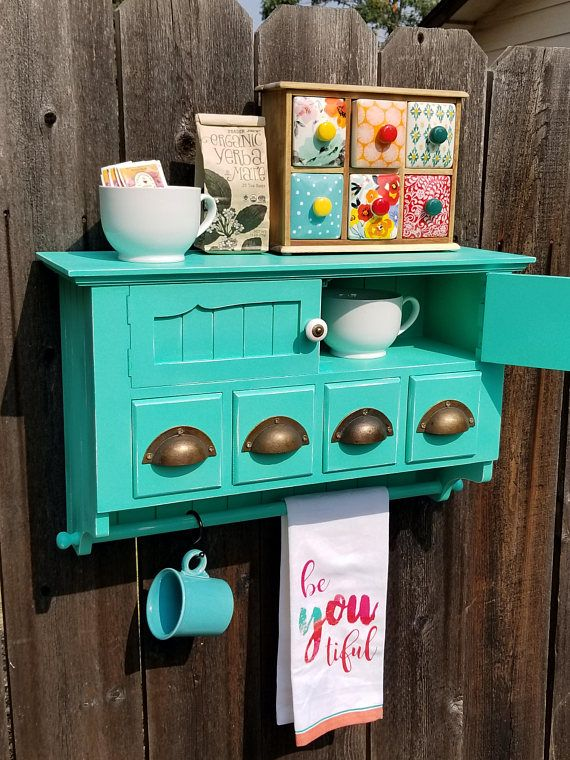 Check out this item in my Etsy shop https://www.etsy.com/listing/556810293/shabby-chic-rustic-farmhouse-coffee-bar  Home decor. Shabby chic, vintage, rustic, farmhouse style, country home, eclectic, bohemian decor, Teal decor, furniture, Kitchen Storage, Kitchen cabinet, coffee bar, coffee station, Tea, Tea storage, recipe card storage, Essential Oils Storage, Towel Rack, Bathroom storage.