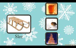 Digibordles rijmen met het thema winter.