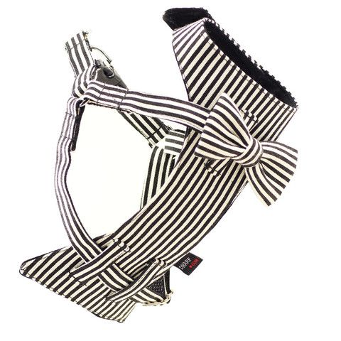 Dog Bow-tie Harness - Black & White Stripes | Dharf