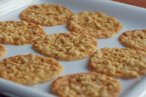 Oatmeal Crisps.  PS: I just made these.  If you use old-fashioned instead of quick oats, add about 3 tablespoons more of flour and 1/4 cup more of oats.  If not, you'll end up with a big, flat, goopy stain on the foil (a.k.a. my first batch).  Also, don't do it on foil.