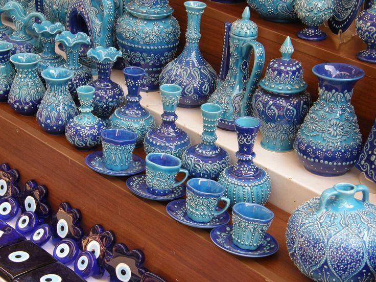 Blue Turkish pottery