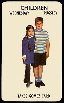 "Back of ""The Addams Family"" card game 1964 - Wednesday and Pugsley Addams (color card)"