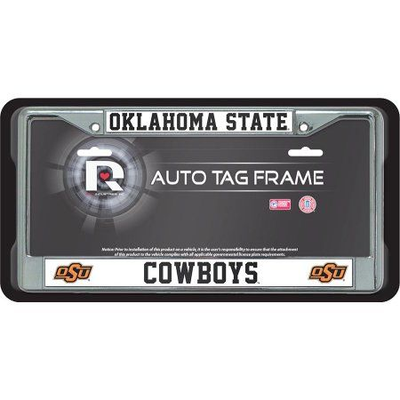 Oklahoma State Cowboys Chrome License Plate Frame Free Screw Caps with this Frame, Multicolor