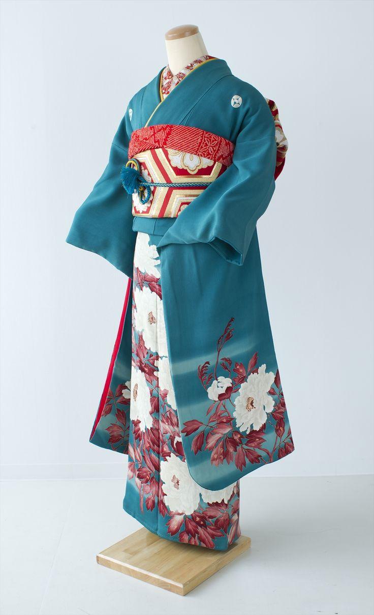 【レンタル・アンティーク振袖】 ターコイズブルーに白牡丹 商品詳細 アンティーク着物 振袖レンタルの 縁-enishi-