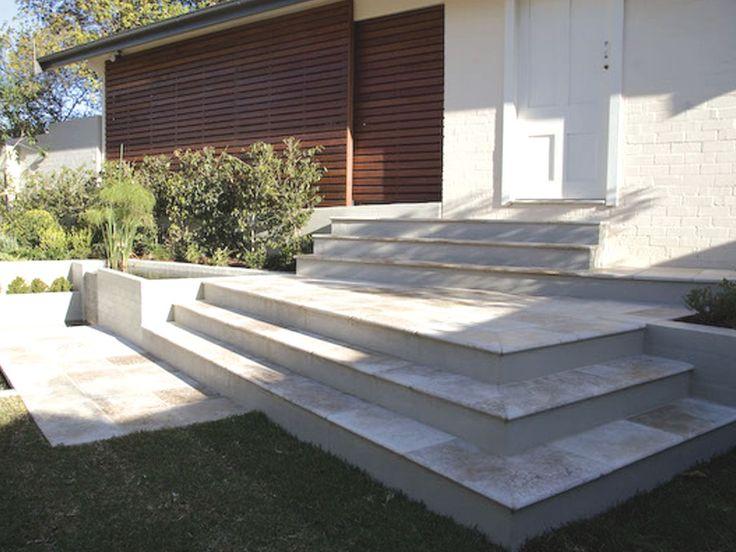 Tumbled Noce Travertine step treads, risers & tiles supplied by Sareen Stone. www.sareenstone.com.au