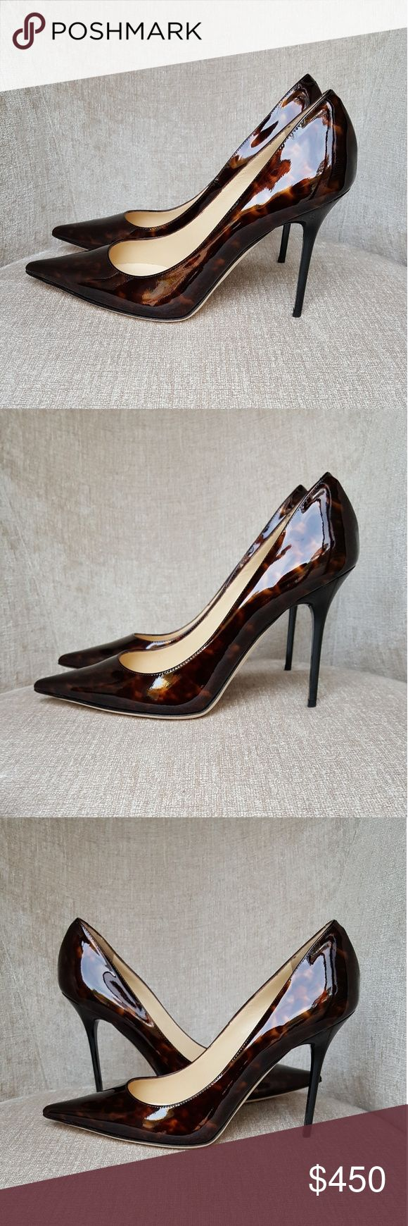 NIB Jimmy Choo Patent Tortoise Abel Pumps US 9.5 / Euro 39.5.  New with box and dustbags.  Heels 4.25 inches.  jim Jimmy Choo Shoes Heels