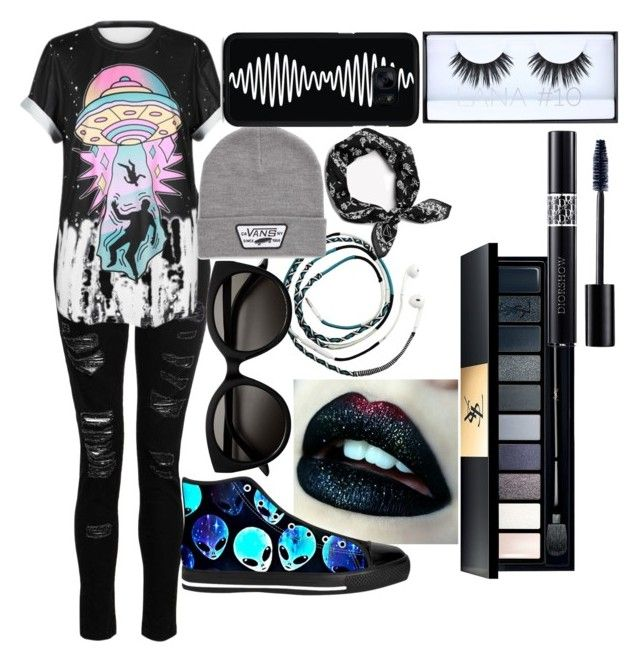 """""""•Black•"""" by bambimie on Polyvore featuring mode, Dorothy Perkins, WithChic, Sarina, Vans, rag & bone, Samsung, Huda Beauty, Yves Saint Laurent et Christian Dior"""