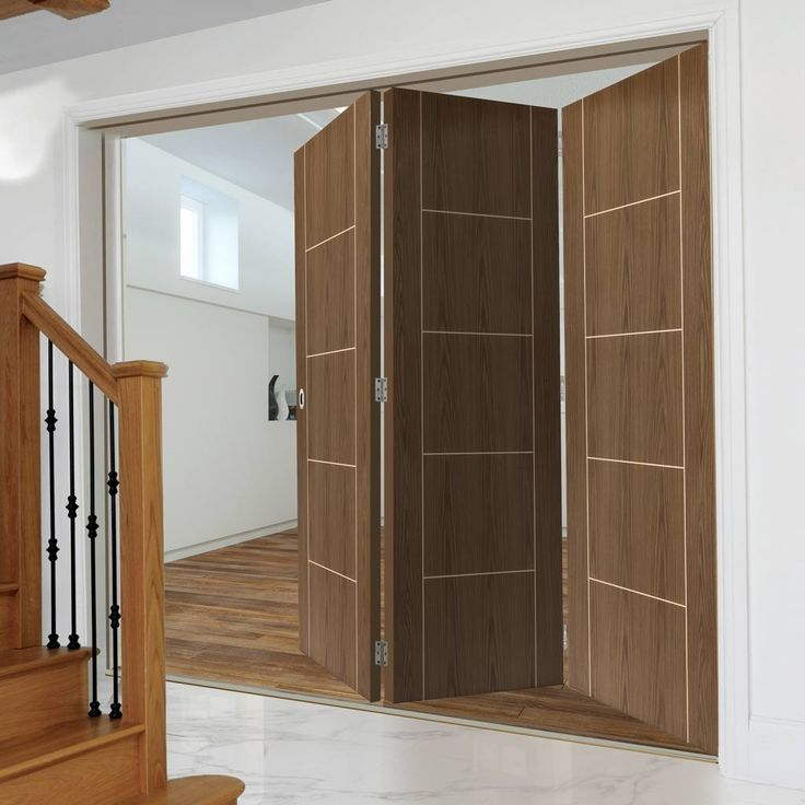 Thrufold Eco Mocha Walnut 3+0 Folding Door - Prefinished. #walnutdoors #flushdoors #walnutdoors #doors #interiordoors #trifolddoors #bifolddoors