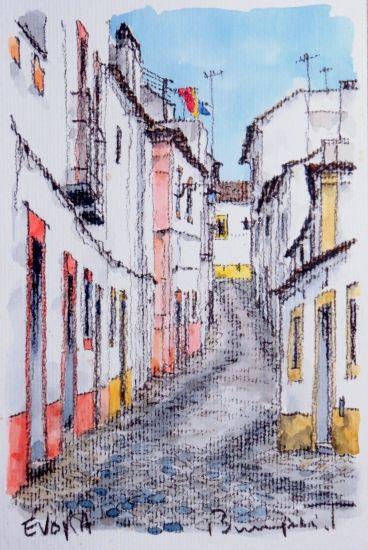 Évora の路地にて-インテリアアート・絵画販売 - 美styleアート 高橋文平 ヨーロッパの街角から
