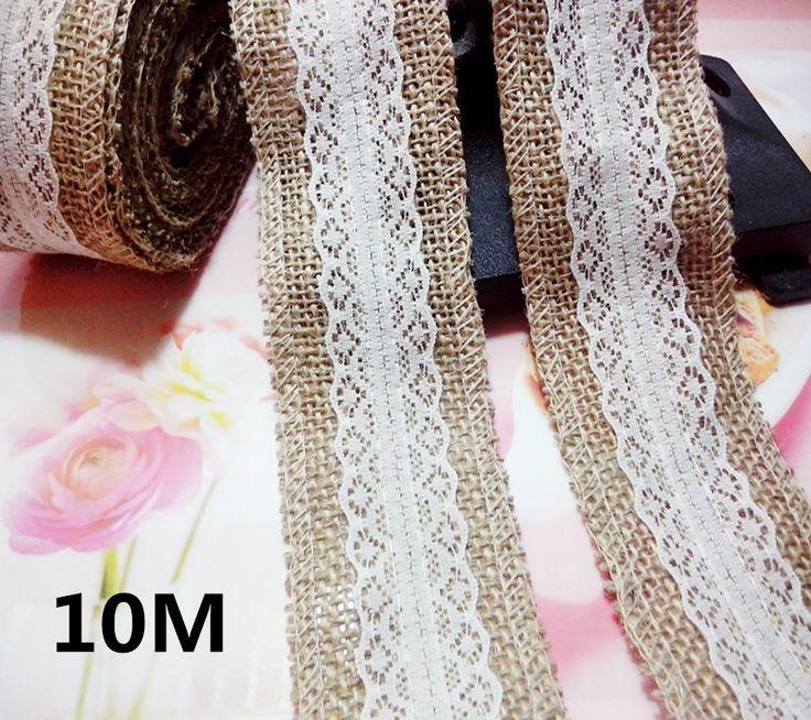 10 meter natuurlijke jute jute jute lint + ivoor kanten rand rand vintage bruiloft decoratie rustieke, 1658-2(China (Mainland))