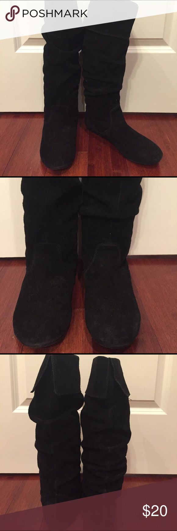 Steve Madden Black suede flat knee boots Steve Madden Black suede flat knee boots. GUC. Style Bonanza. Steve Madden Shoes Winter & Rain Boots