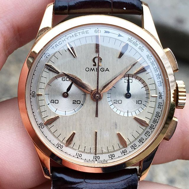 Lovely Omega Chronograph in rose gold sold last week to a local friend #sold #omega #europeanwatchco