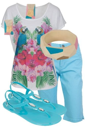Pastel Panache - Pick up this pastel ensemble and feel forever pretty. A graphic tropical tee combines casually with a crop pant, jelly sandals and wooden jewellery. All you need now is an icecream in coordinating shades!
