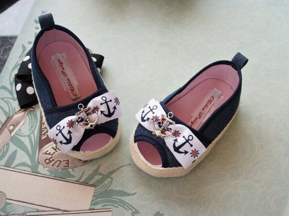 Olivia Paige - Rockabilly Little Sailor navy Anchor baby shoe flats - AHHHHHHHHHHHH! Cutest shoes EVER! <3 <3 <3
