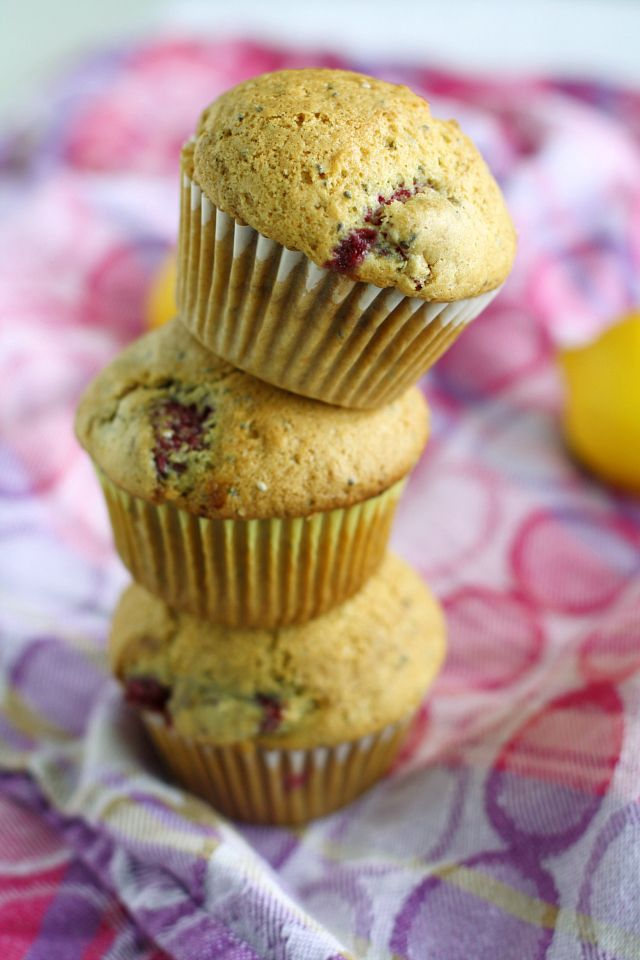 Raspberry Lemon Chia Seed Muffins;I used 1/2 of the sugar, coconut oil instead of canola, and frozen organic blackberries as subs. Turned out amazing! 199 calories a piece and completely organic and vegan.