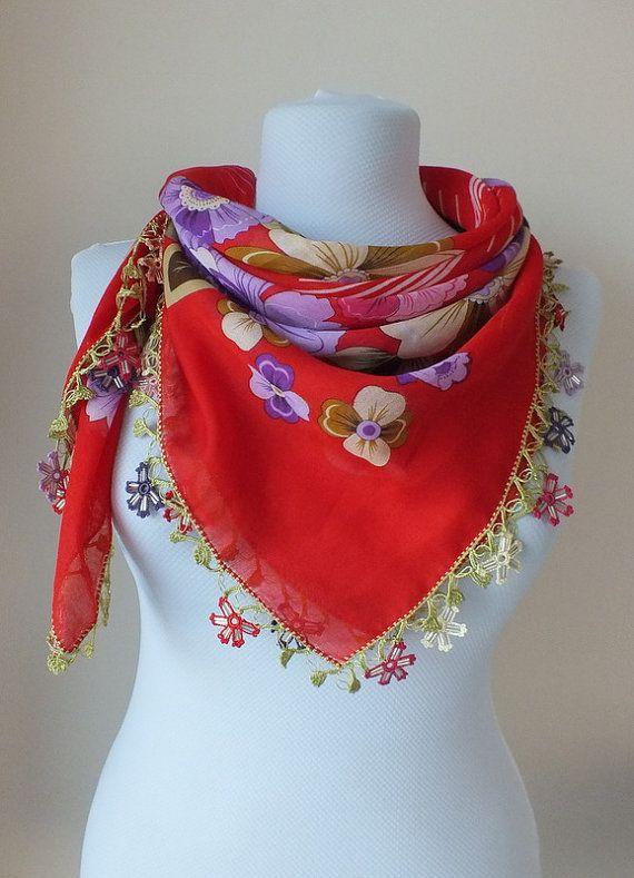 Kırmızı eşarp, otantik, romantik, Türk Yemen OYA eşarp, eşarp, zarif, moda, çiçek, Boho tarzı, türban, yılbaşı hediyeleri