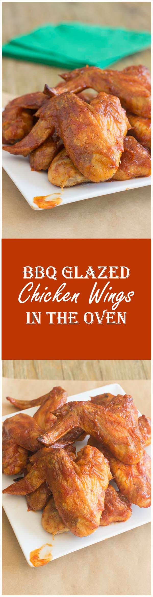 Here's where two of my best ever recipes meet to become the best ever BBQ chicken wings. Crispy oven-baked wings with deliciously perfect sweet BBQ sauce. #bbqchickenwings  #appetizerrecipes #superbowlfood #cookthestory