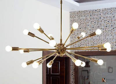 Detail Classic Mid Century Modern polished Brass Sputnik atomic chandelier star | Home & Garden, Lamps, Lighting & Ceiling Fans, Chandeliers & Ceiling Fixtures | eBay!