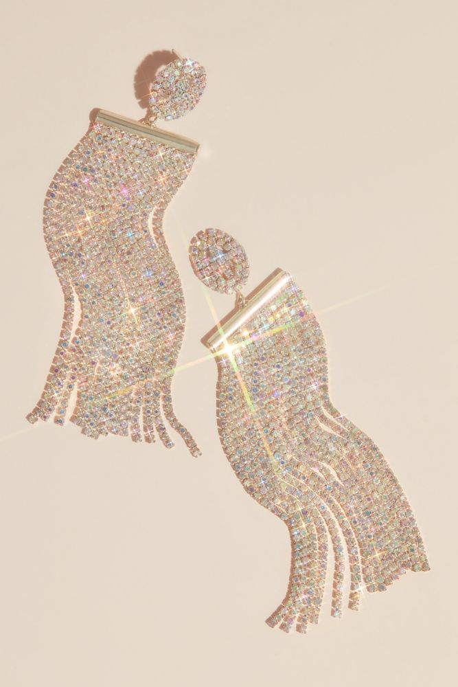 These dramatic earrings feature iridescent crystal fringe sweeping from faceted crystal posts. By Natasha Brass, crystal L, 1 W Imported Fringe Necklace, Cluster Necklace, Crystal Choker, Faceted Crystal, Simple Earrings, Flower Earrings, Bride Accessories, Matching Necklaces, Swarovski Pearls