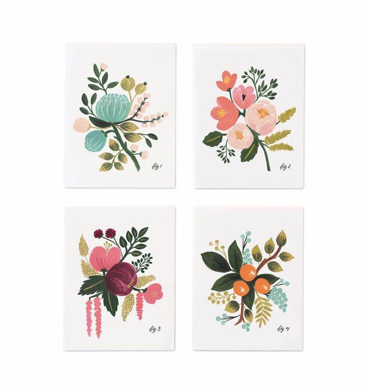 Botanical Set of 8 Folded Cards, 2 of Each Design