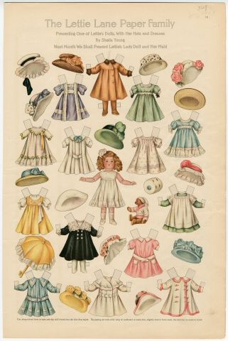 75.2755: The Lettie Lane Paper Family: Presenting One of Lettie's Dolls, with Her Hats & Dresses | paper doll | Paper Dolls | Dolls | National Museum of Play Online Collections | The Strong