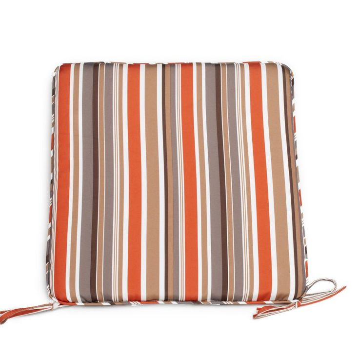 Coral Coast Classic 19 x 18 in. Rocking Chair Seat Pad Sienna Stripe - M006-1-F95370-SIENNA STRIPE