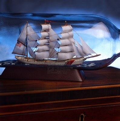 sailing ship in a glass bottle