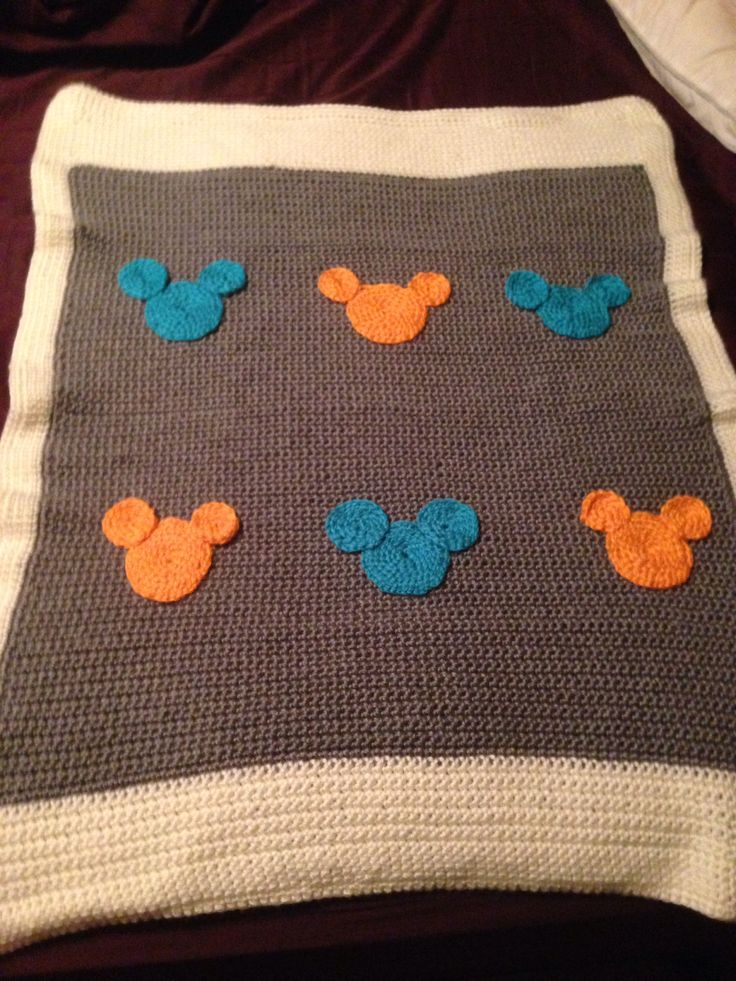 Mickey Mouse Crochet Baby Blanket Pattern : Mickey Mouse crochet baby blanket disney blue orange gray ...