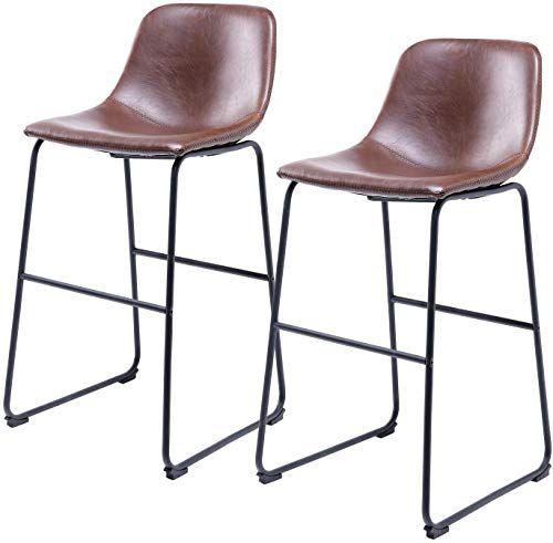 The 5rcom Centiar Pu Leather Bar Stools Set 2 Barstools Back