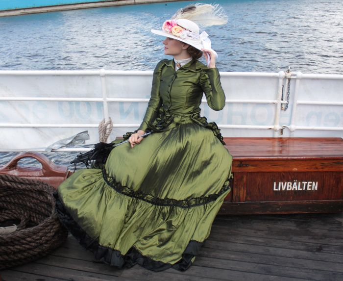 Me in my victorian dress on a steamboat in Sweden.