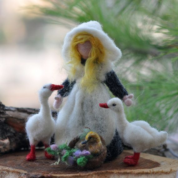 Needle felted Waldorf Goose Gerl- wool needle felted standing doll--needle felt by Daria Lvovsky