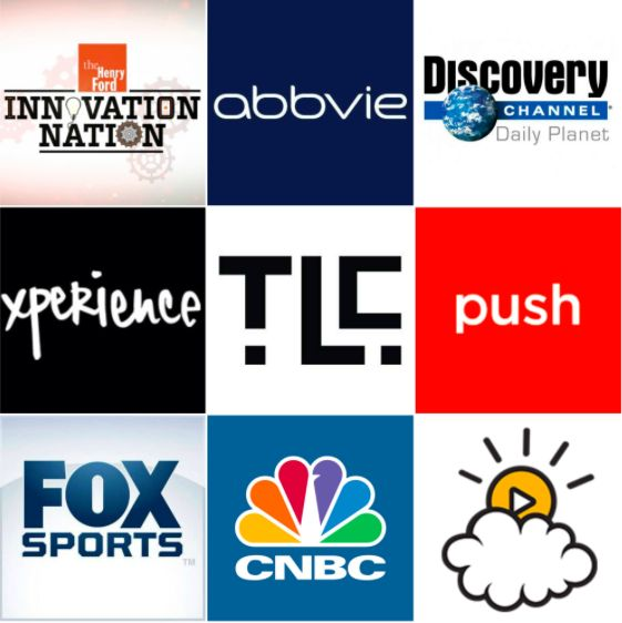Innovation Nation, Abbvie, Discovery Canada, Xperience, Lawrence Company Communications, Push Digital, Fox Sports, CNBC, Little Things