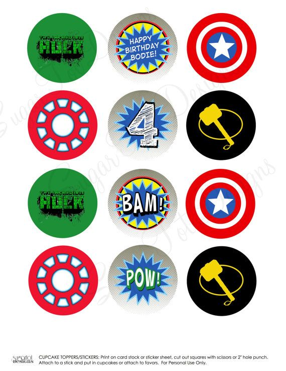 Avengers Party, Avengers Party Door Sign, Cupcake Toppers, Favor Tags, Wrappers, Banner, Thor, Captain America, Hulk, Iron Man - Printable. $22.00, via Etsy.
