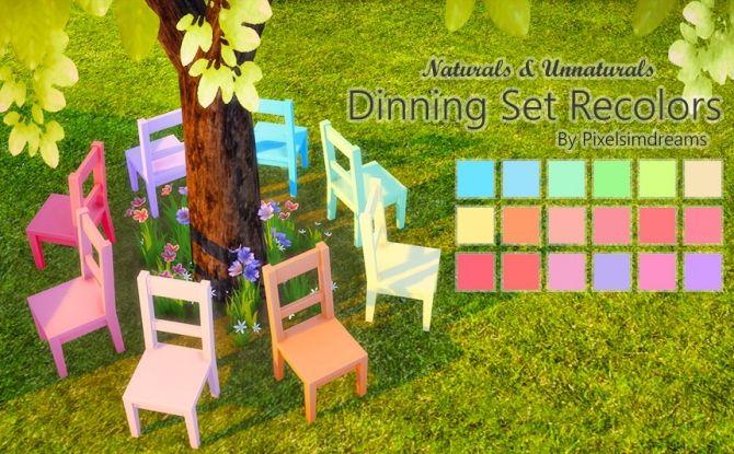 Dinning Set Recolors at Pixelsimdreams via Sims 4 Updates