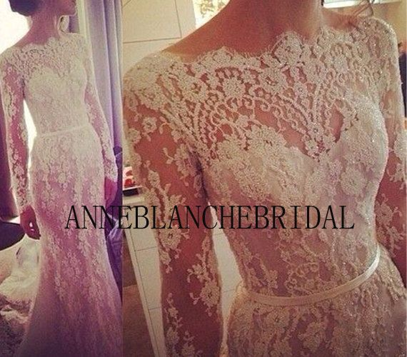 Lace long sleeves wedding gowns gorgeous lace by anneblanchebridal, $339.00