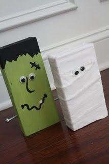 Wood halloween decorations-  Must try this soon!  Could use scrap wood (or even bricks!)...