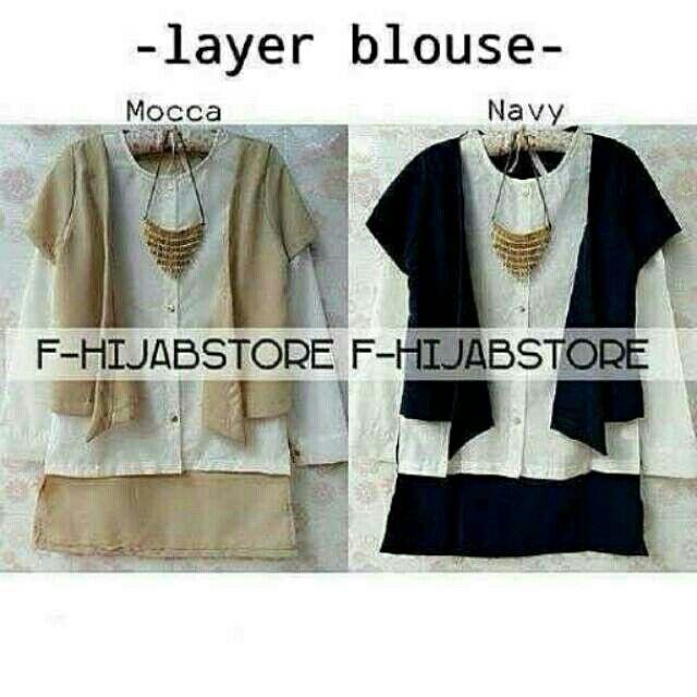 @53000 layer blouse bahan katun uk all size fit L .moca.hitam
