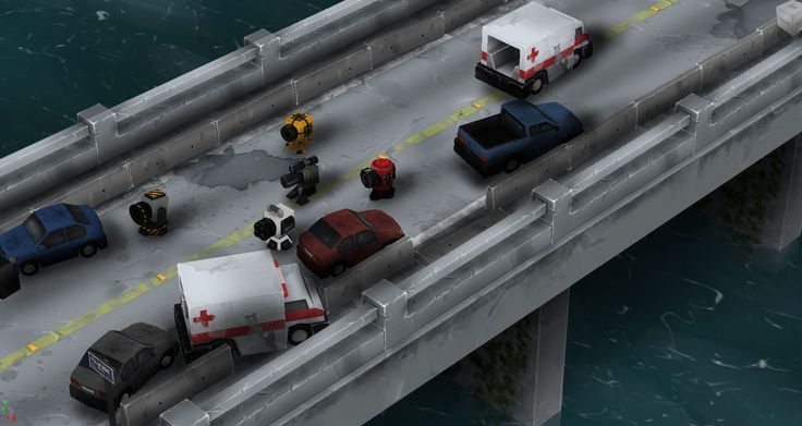 Pillow Zombies TD - isometric bridge map - tower defense
