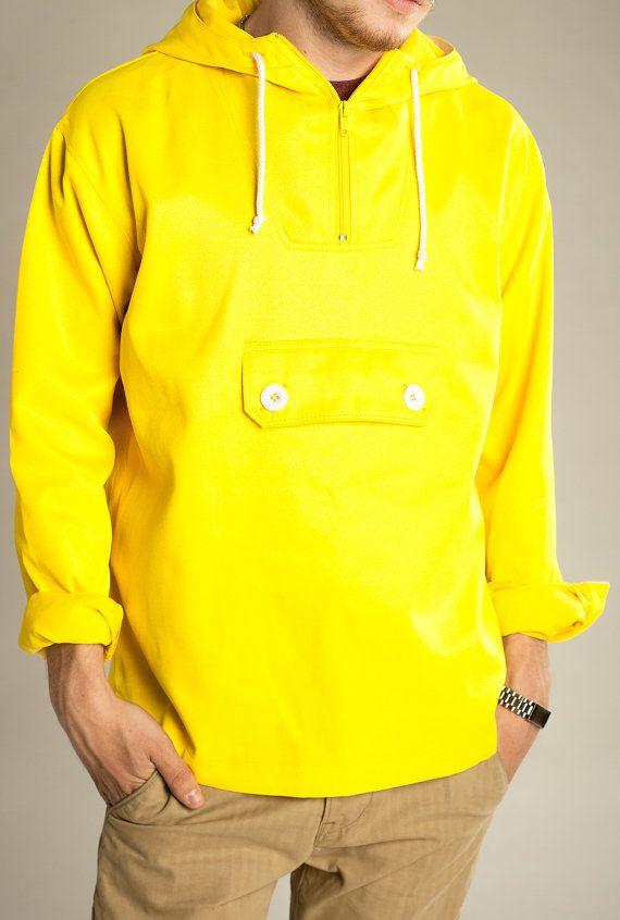 Vintage Unisex Waxed Waterproof  Jacket Coat Anorak
