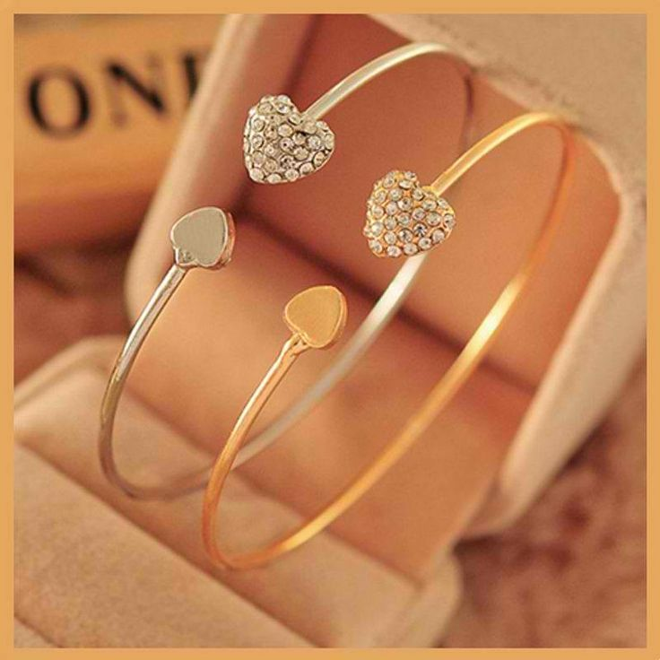 Women Fashion Crystal Heart Gold&Silver Women's Bangle Bracelet $4.99 free shipping You save 75% off the regular price of $20.00