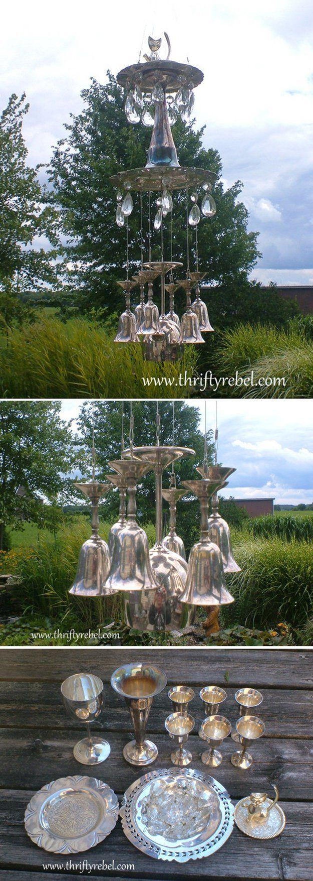 Creative DIY Wind Chime Craft | DIY Silver Goblet Wind Chimes by DIY Ready at  http://diyready.com/32-diy-wind-chimes/