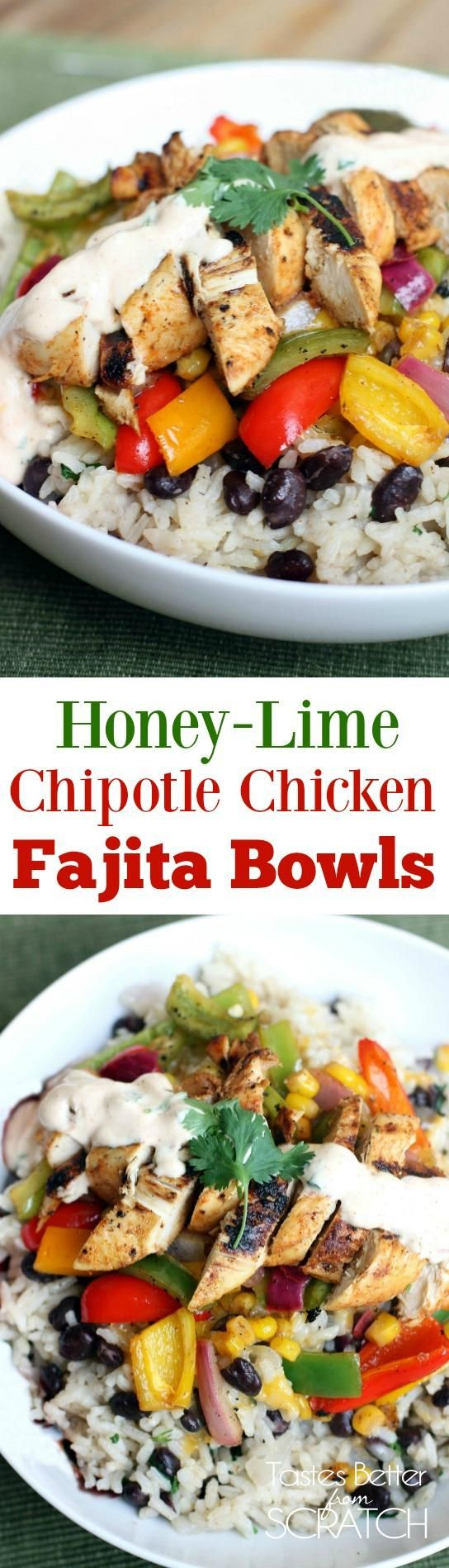 Honey-Lime Chipotle Chicken Fajita Bowls
