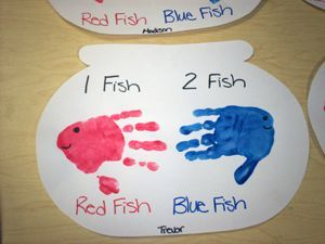 Handprint Fish: Can also be made with 2 googly eyes and smile for face. Add bubbles in fish bowl.