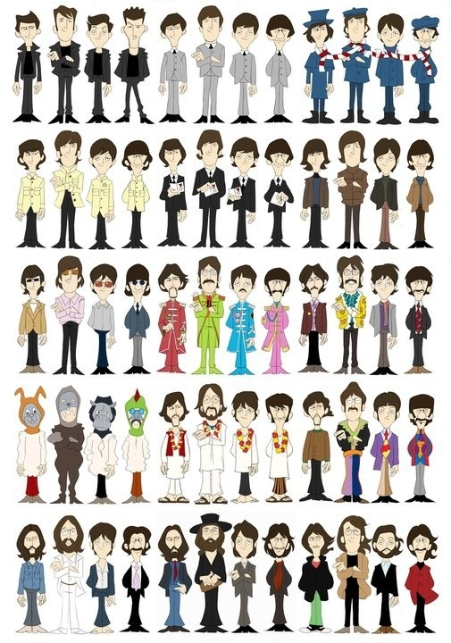 If you want to see a timeline of the Beatles clothing style...here you go! :D