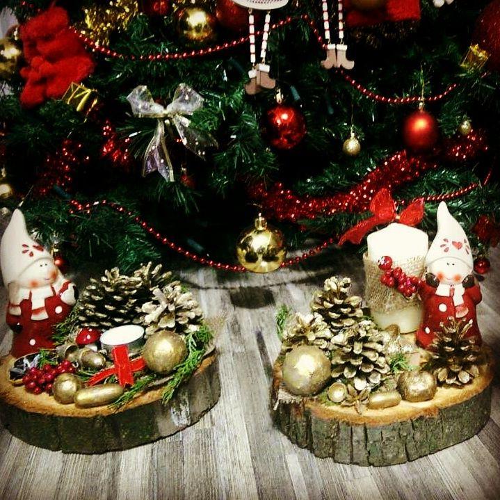 Aranjament de Craciun realizat pe rondea de copac,conuri de brad, fructe uscate ,lumanare si decoratiune cu tematica by Handmade4u.ro