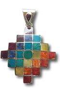 Peruvian Silver Chakana  Twantinsuyu Pendant